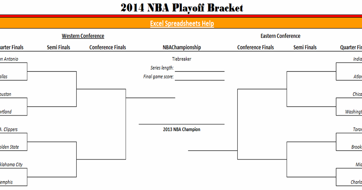 image regarding Nba Playoff Printable Bracket identified as Excel Spreadsheets Assistance: 2014 NBA Playoff Bracket within just Excel
