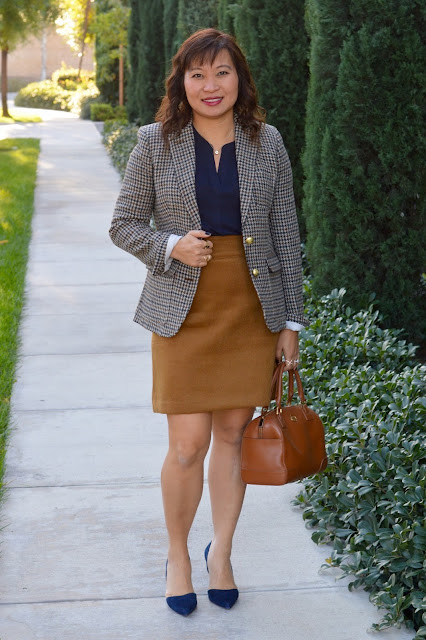 J Crew Rhodes Blazer in Houndstooth, Loft Wooly Shift Skirt
