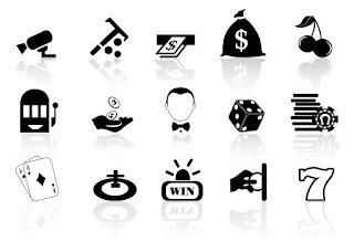 カジノ関連のシルエット アイコン Casino icons イラスト素材