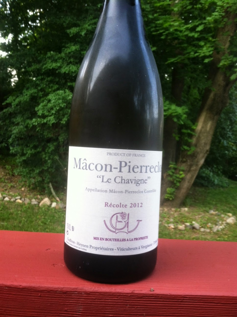 2012 Guffens-Heynen Macon-Pierreclos Le Chavigne, a very good and reasonably priced White Burgundy.