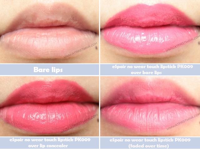 eSpoir no wear touch lipstick PK009 on lips