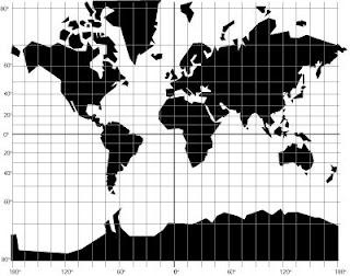 Gradicula que representa meridianos y paralelos