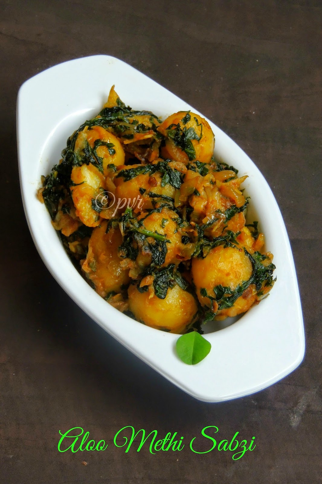 Aloo methi Sabzi, Potato fenugreek leaves curry,Vegan potato fenugreek leaves curry