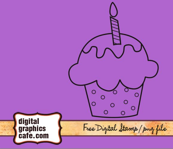 free digital stamp cupcake