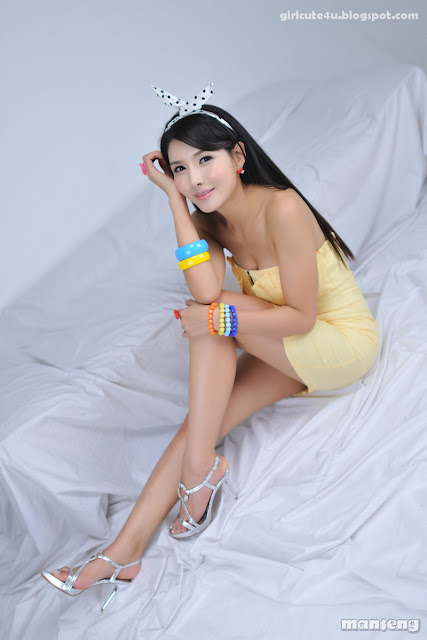 3 Cha Sun Hwa-Yellow Mini Dress-very cute asian girl-girlcute4u.blogspot.com