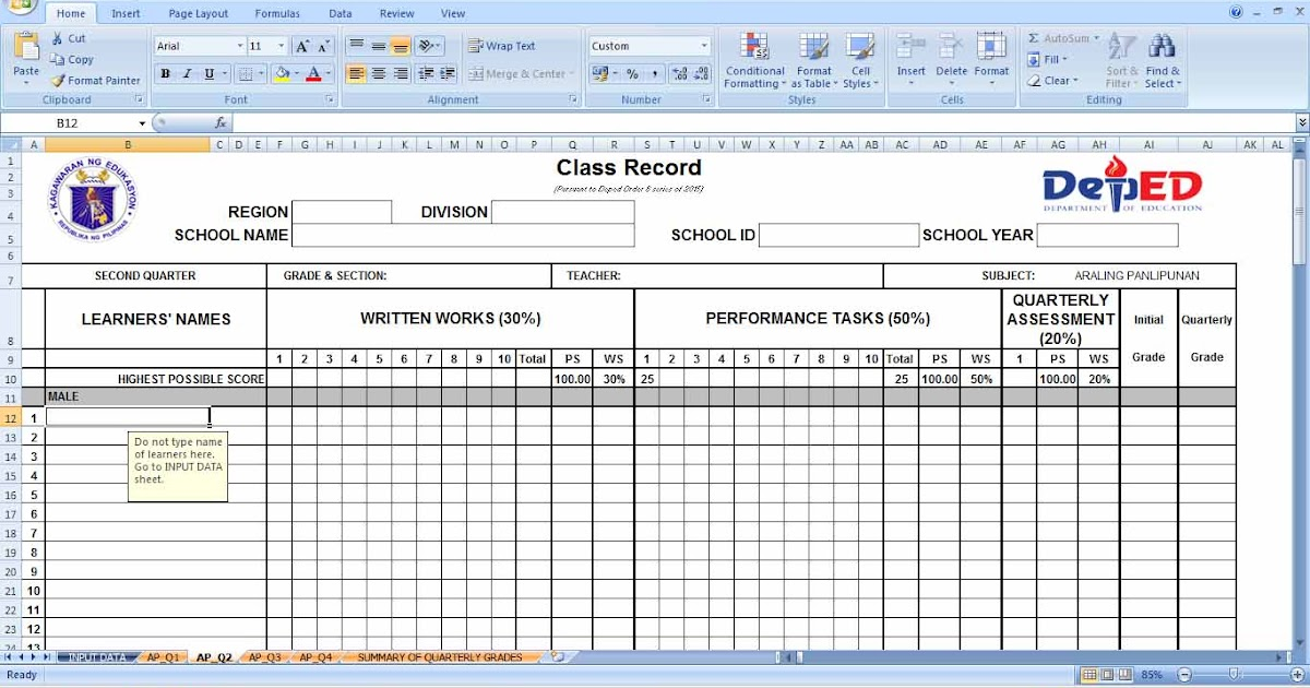 deped        class record templates  grade