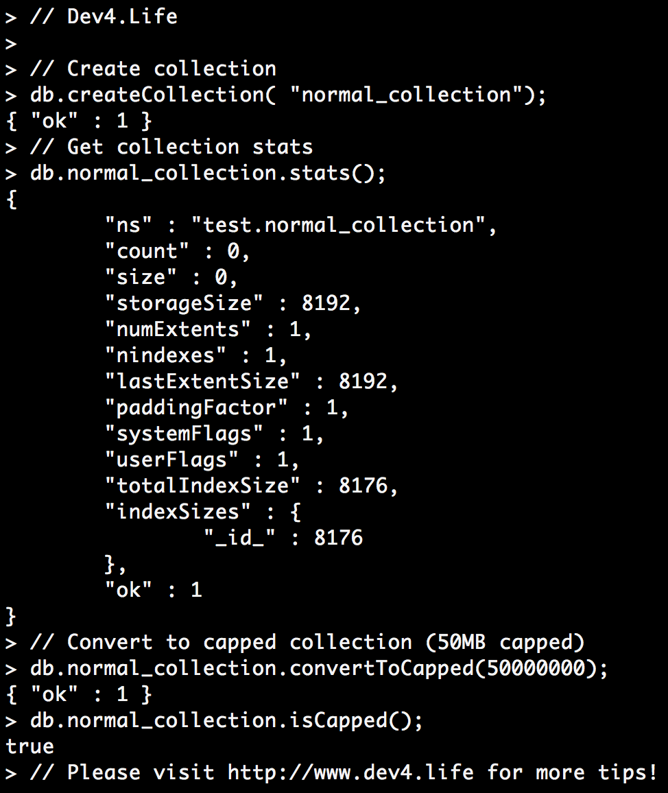 mongodb,capped collection, convertToCapped, createCollection, database, isCapped, stats