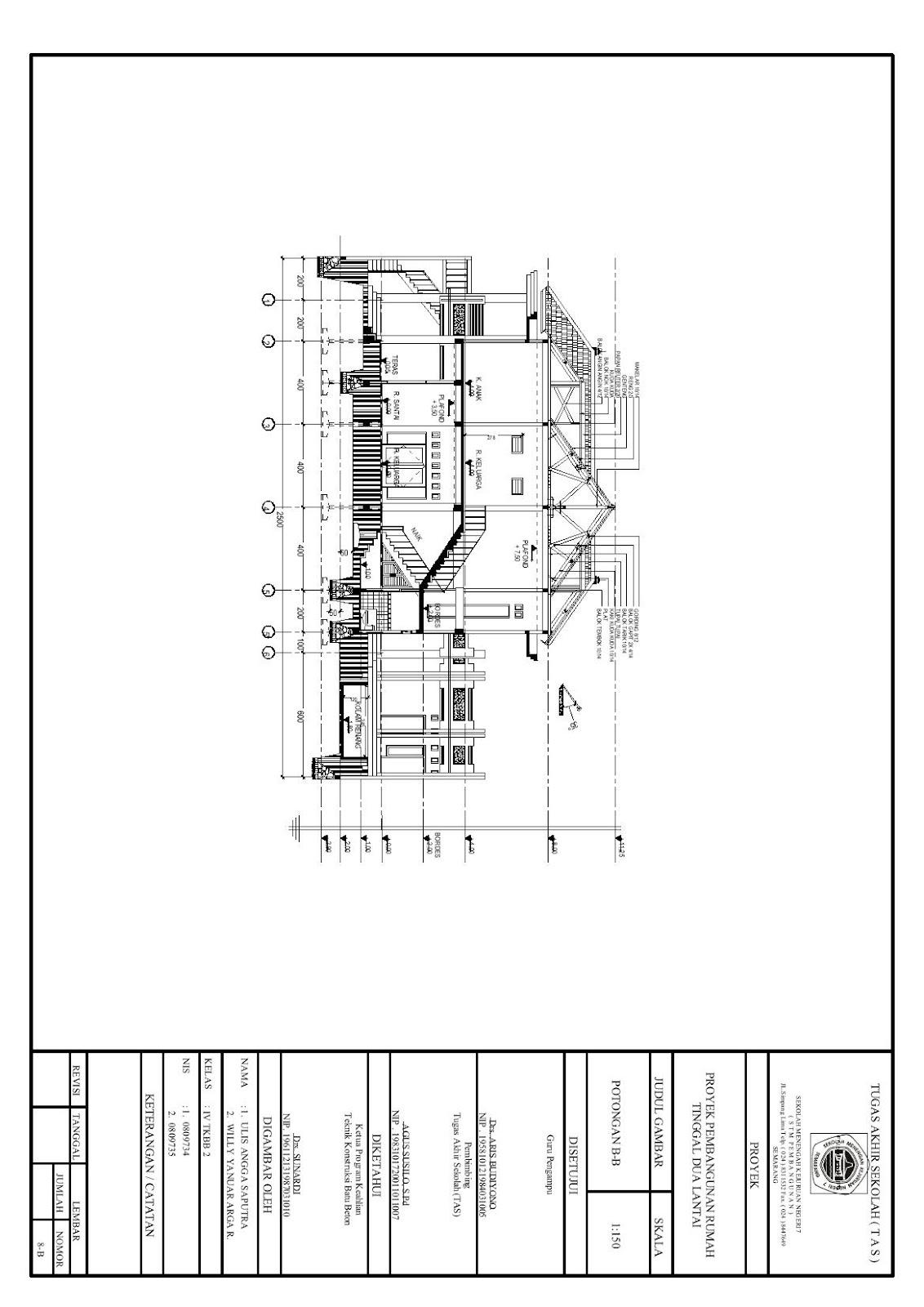 gambar rumah tinggal 2 lantai auto cad tugas akhir