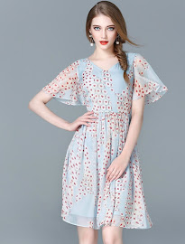 Flare Sleeve Red Hearts Print Blue Flare Dress
