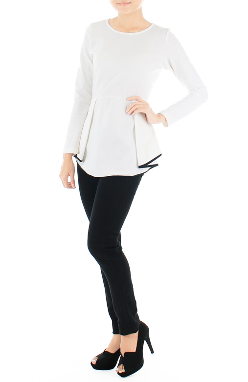Diamond Peplum Long Sleeve Blouse - White