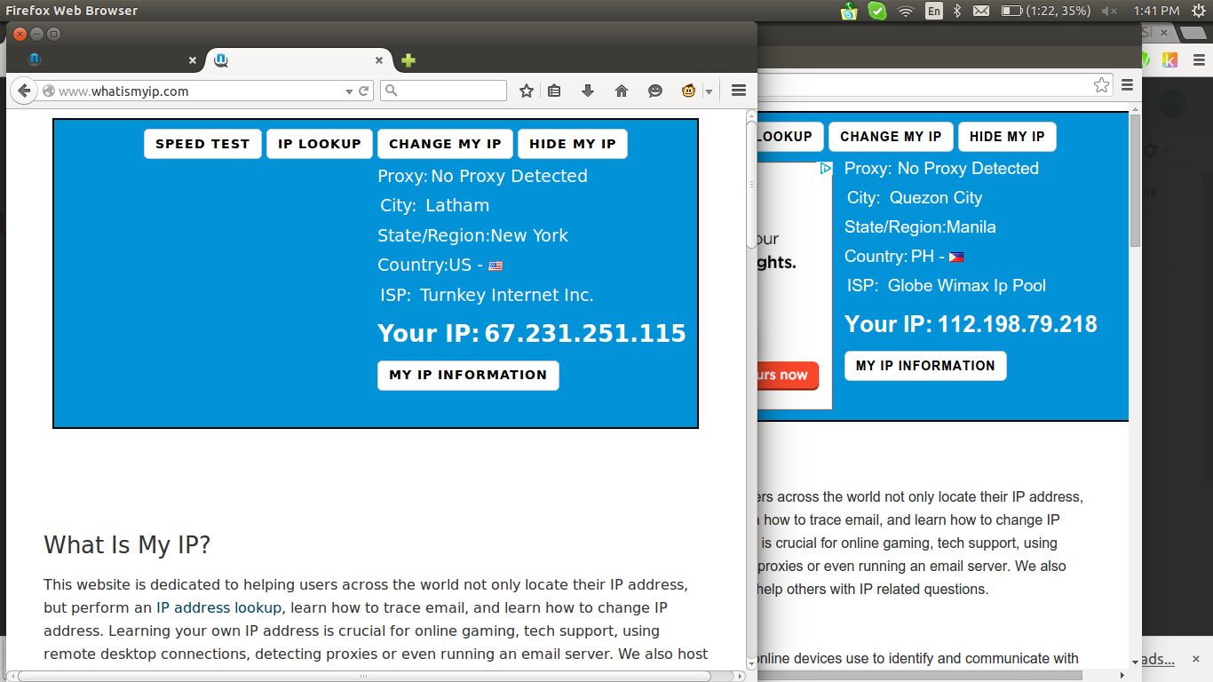 Two Browsers with Different IP Addresses on Ubuntu 14.10