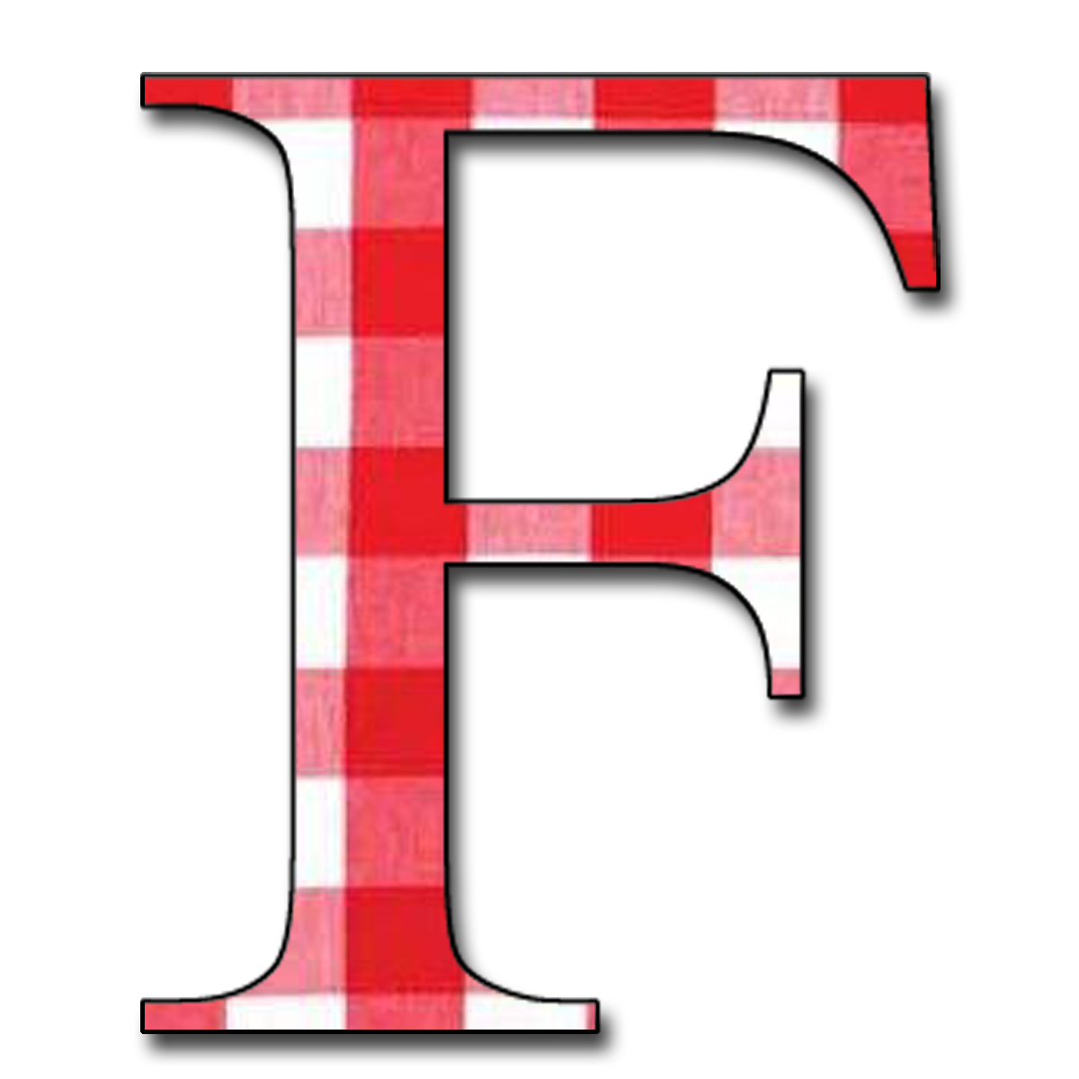 "Letter F Png Red gingham"" free scrapbook alphabet letters jpg & png"