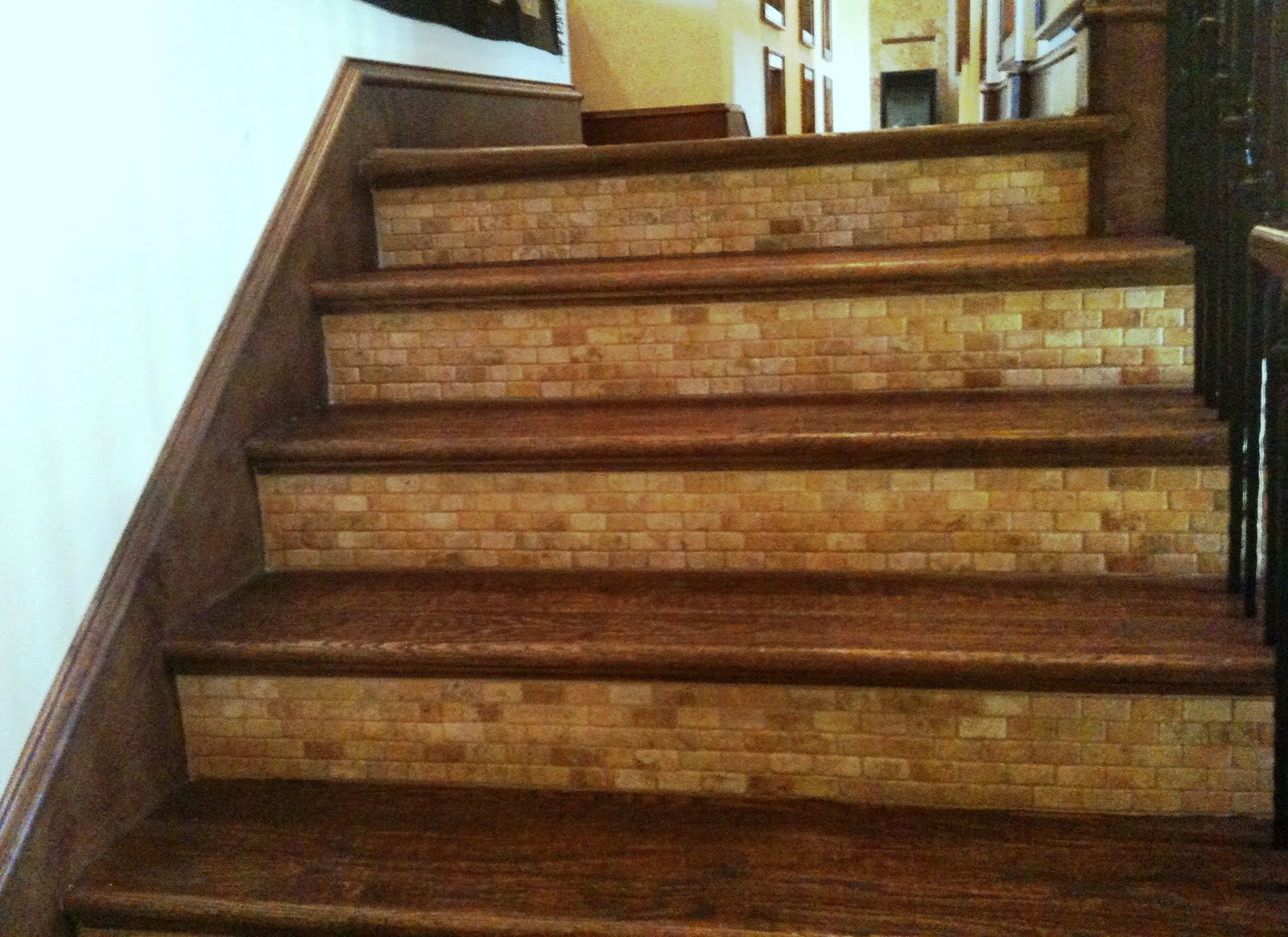 Stones Tile Stairs Risers Tile Wood And Tile Stairs