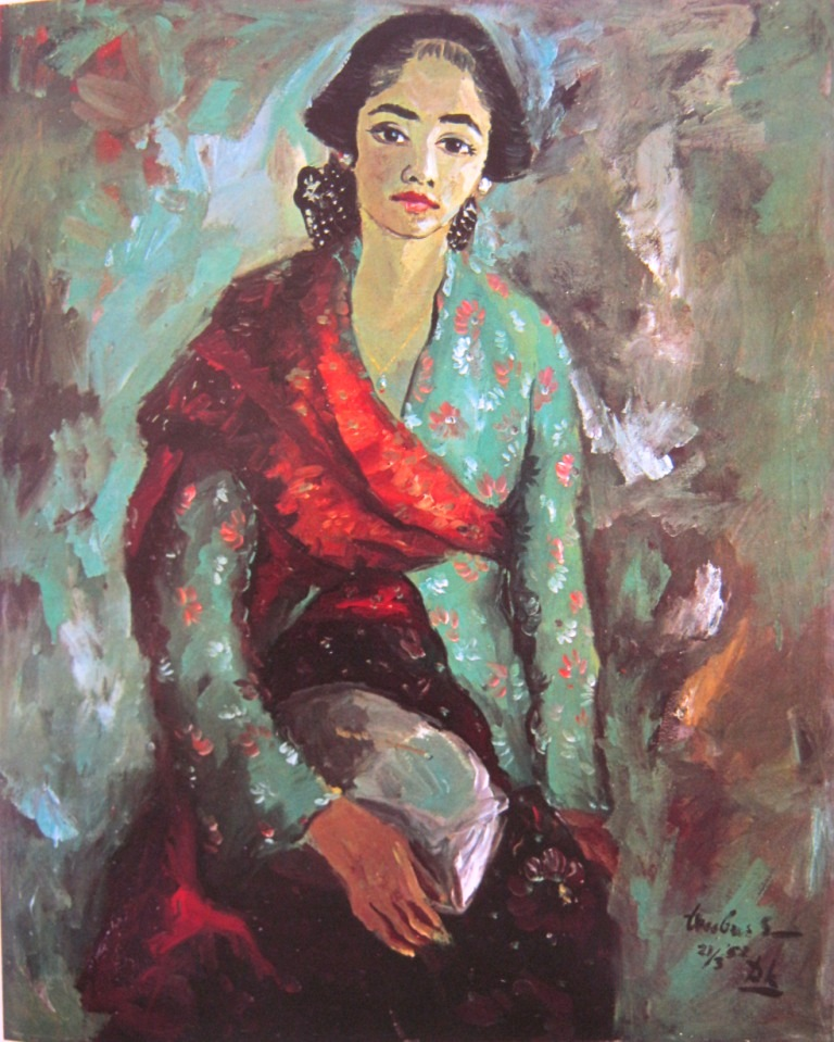 "Wanita Jogja"" by Trubus, Medium: Oil on canvas, Size: 108,5cm x 88cm"