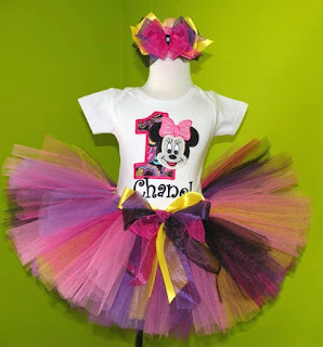 Diva Pink n Black Yellow Minnie Mouse Birthday Tutu Outfit