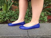 Blue Leather Ballet Flats