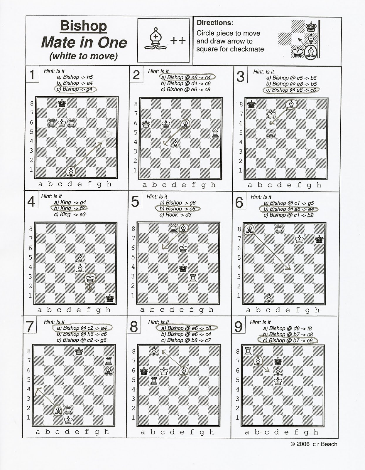 Free Worksheets library worksheets : Matteson Library Chess Players: Answers for July 6