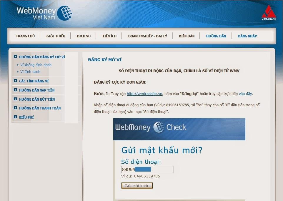 Đăng ký ví điện tử WebMoney Việt Nam