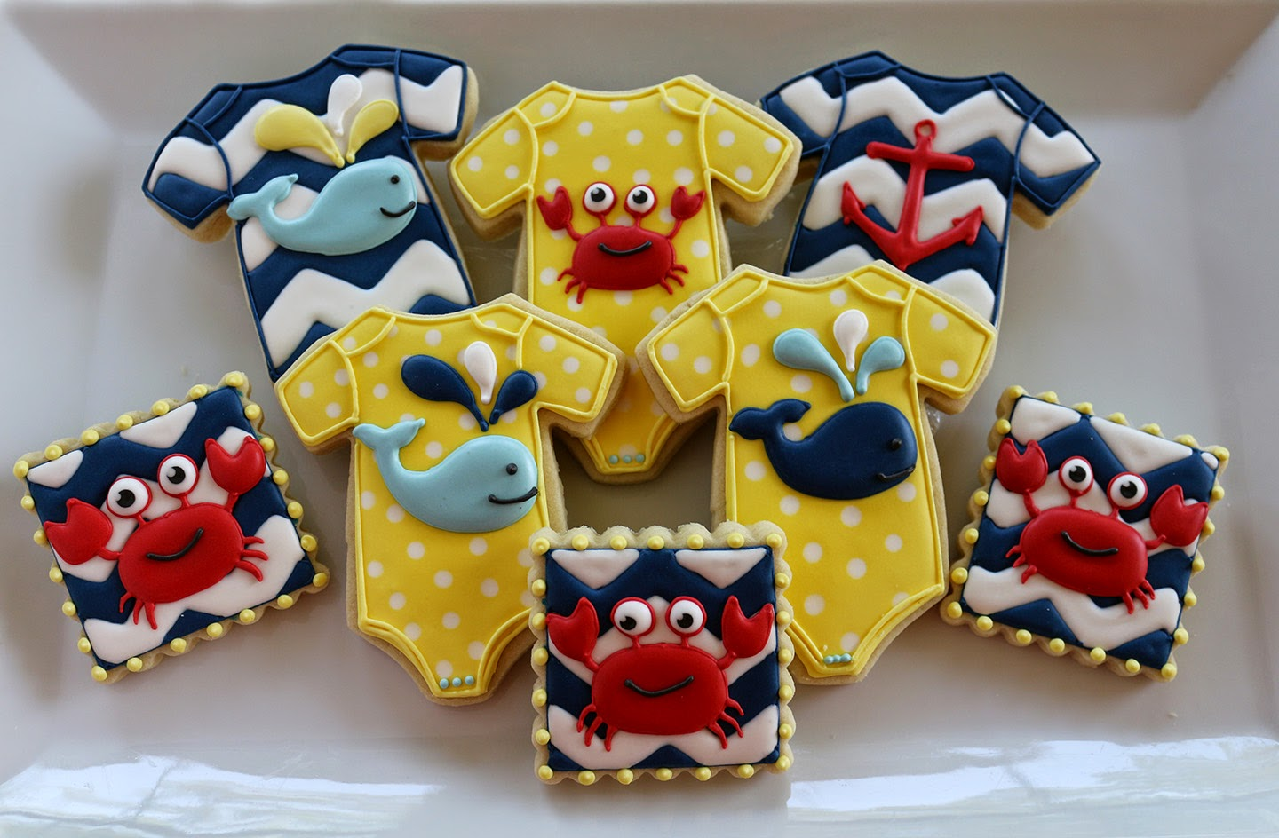 crab and whale baby cookies
