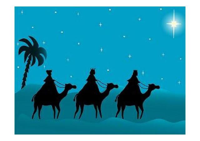 Los reyes magos camino hacia belen