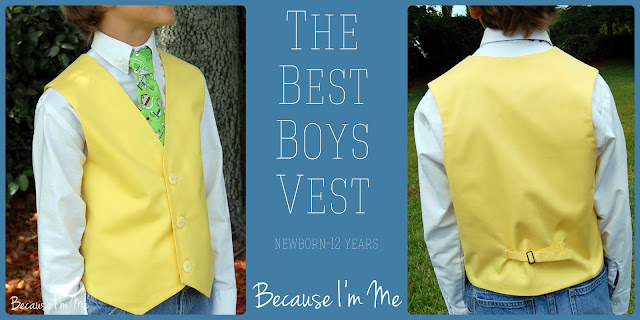 Because I'm Me boys vest, newborn to size 12, perfect for weddings and special events