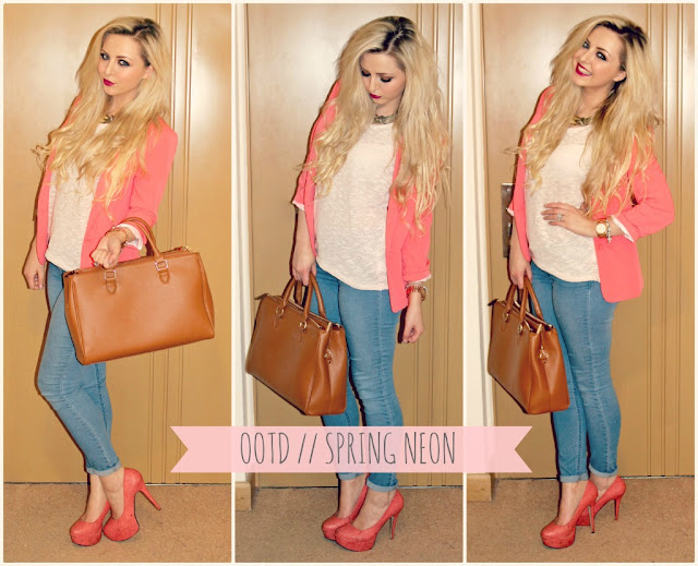 Light Wash Denim Skinny Jeans, Neon Orange Blazer, Kayleigh Louise Johnson Beauty Blogger, New Look Cream Sheer Jumper, OOTD, OOTN, Orange Heels, Outfit, Spring Fashion, UK Beauty and Fashion Blog, Zara Office City Bag,