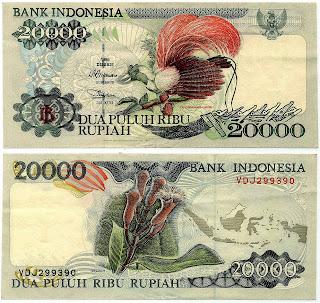 Pecahan 20000 Rupiah emisi 1995