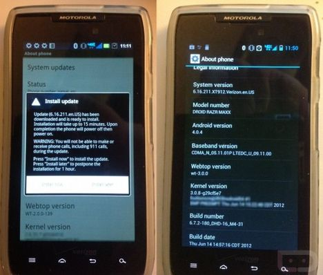 Motorola RAZR Android Ice Cream Sandwich Update