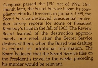 CHAPTER 8 OF ARRB FINAL REPORT [I AM IN THIS REPORT, AS WELL]...HMMM---THE SECRET SERVICE DESTROYS
