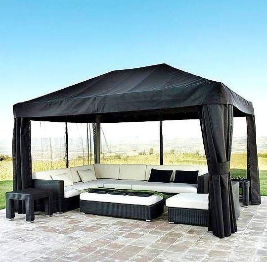 vorh nge f r den pavillon fotos laube foto. Black Bedroom Furniture Sets. Home Design Ideas