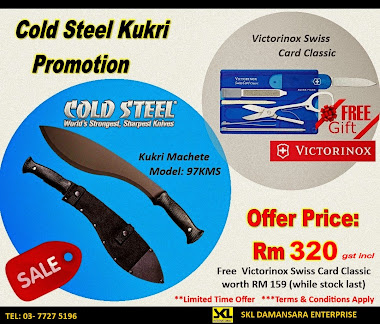 Best Deal!!!!Cold Steel Kukri  now on Promotion!! . Offer price now RM 320; FREE Victorinox