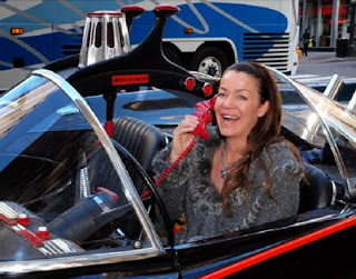 Claudia Christian in the Batmobile