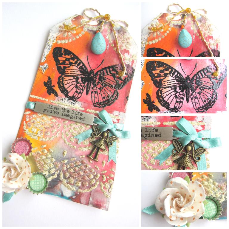 tag de marzo Celebrating Springtime collage con detalles de flor, mariposa y lazo