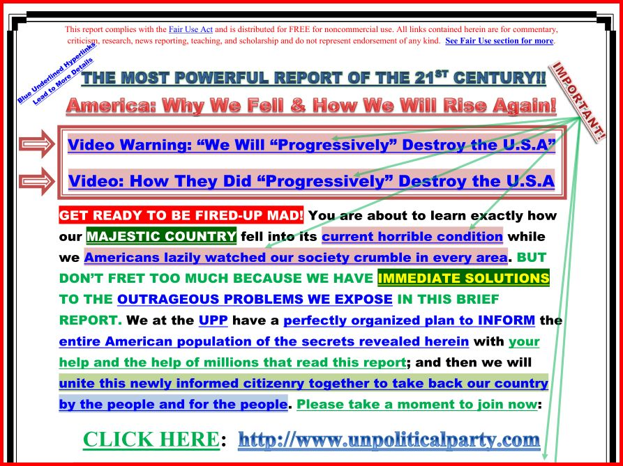 The Un-Political Party - The Citizens' Action Portal for Representative Government: HowAmericaWillRiseAgain