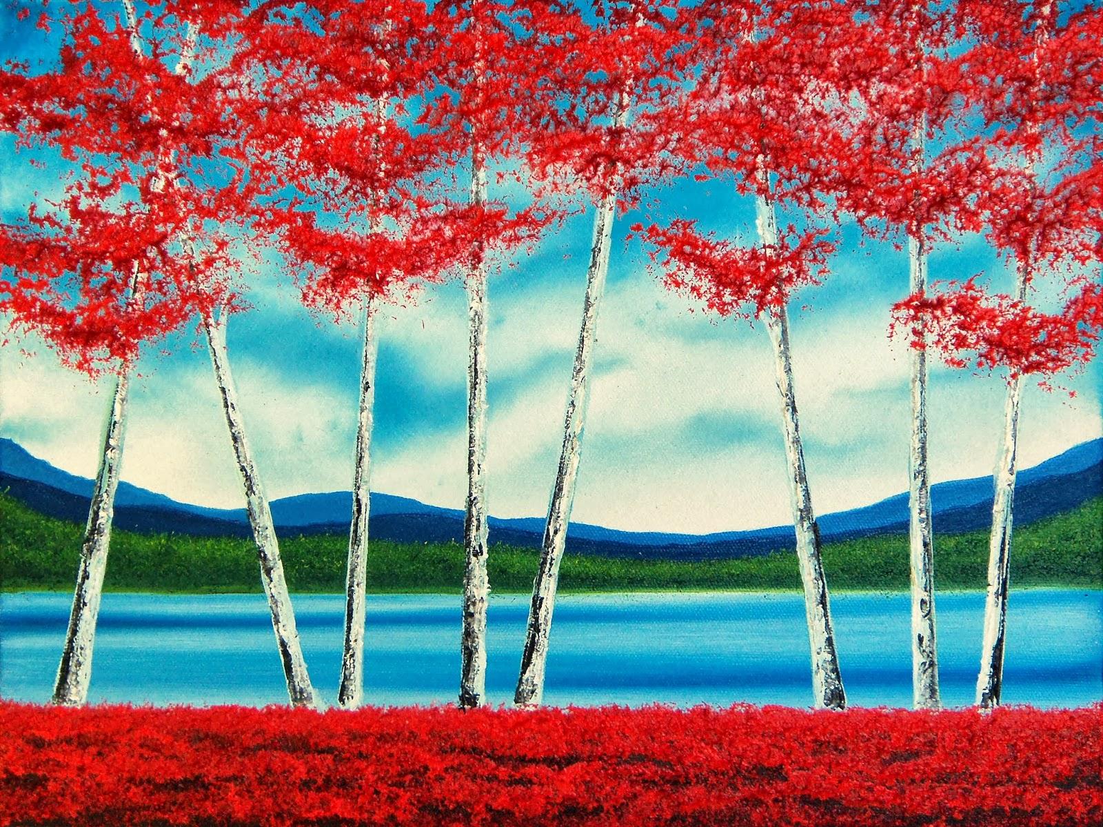 Contemporary Art Birch Tree Painting, 12 x 16, Original Oil Painting ...