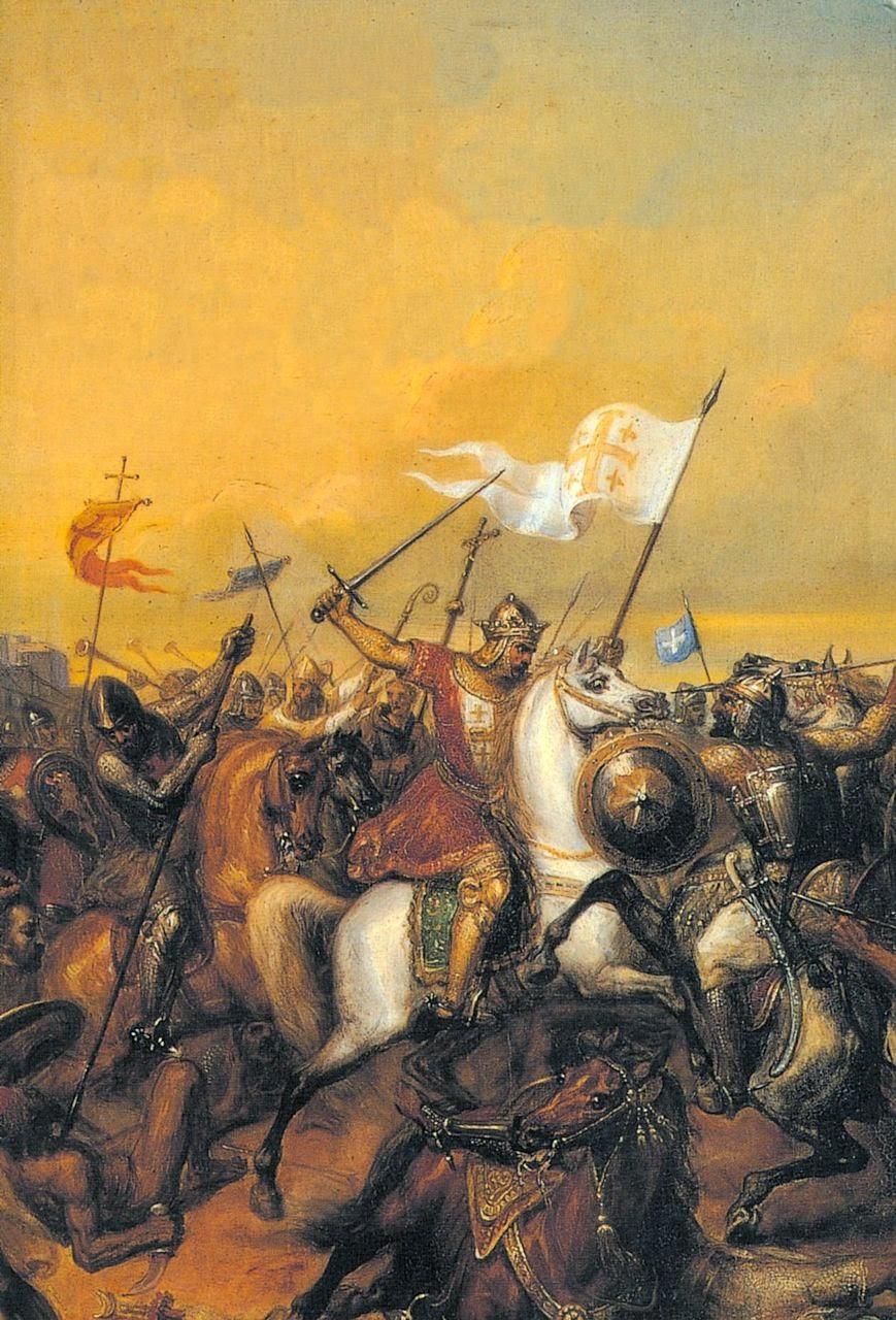 Balduino I na batalha de Jaffa, ano 1102. Henri Auguste Calixte César Serrur (1794-1865), Musée de Versailles