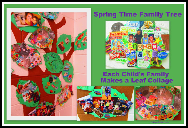 kindergarten family art for spring, family tree, leaf collage, bulletin board, collaboration