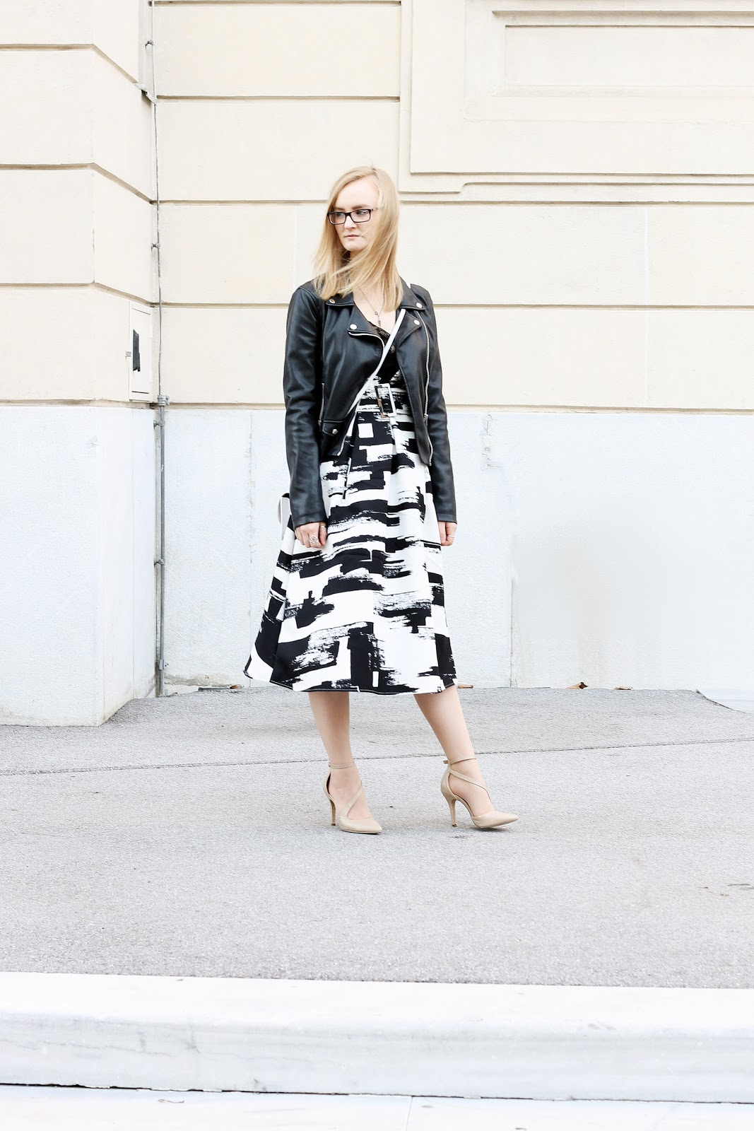 midi dress and leather jacket