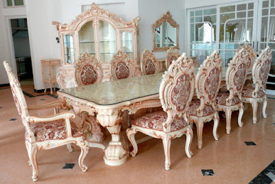 set meja makan finishing duco french furniture
