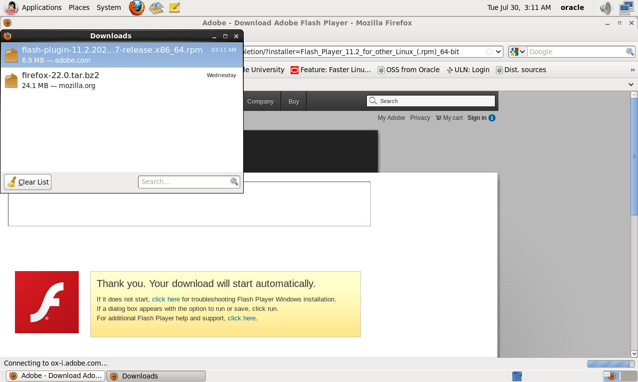 Installing Flash Player for Firefox to Run EM Cloud Control