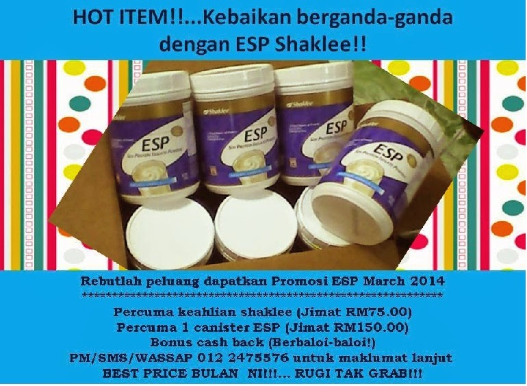 PROMOSI MARCH 2014 ESP energizing soy protein shaklee buy 6 free 1