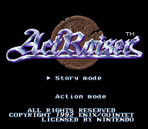 ActRaiser Super Nintendo europe title screen