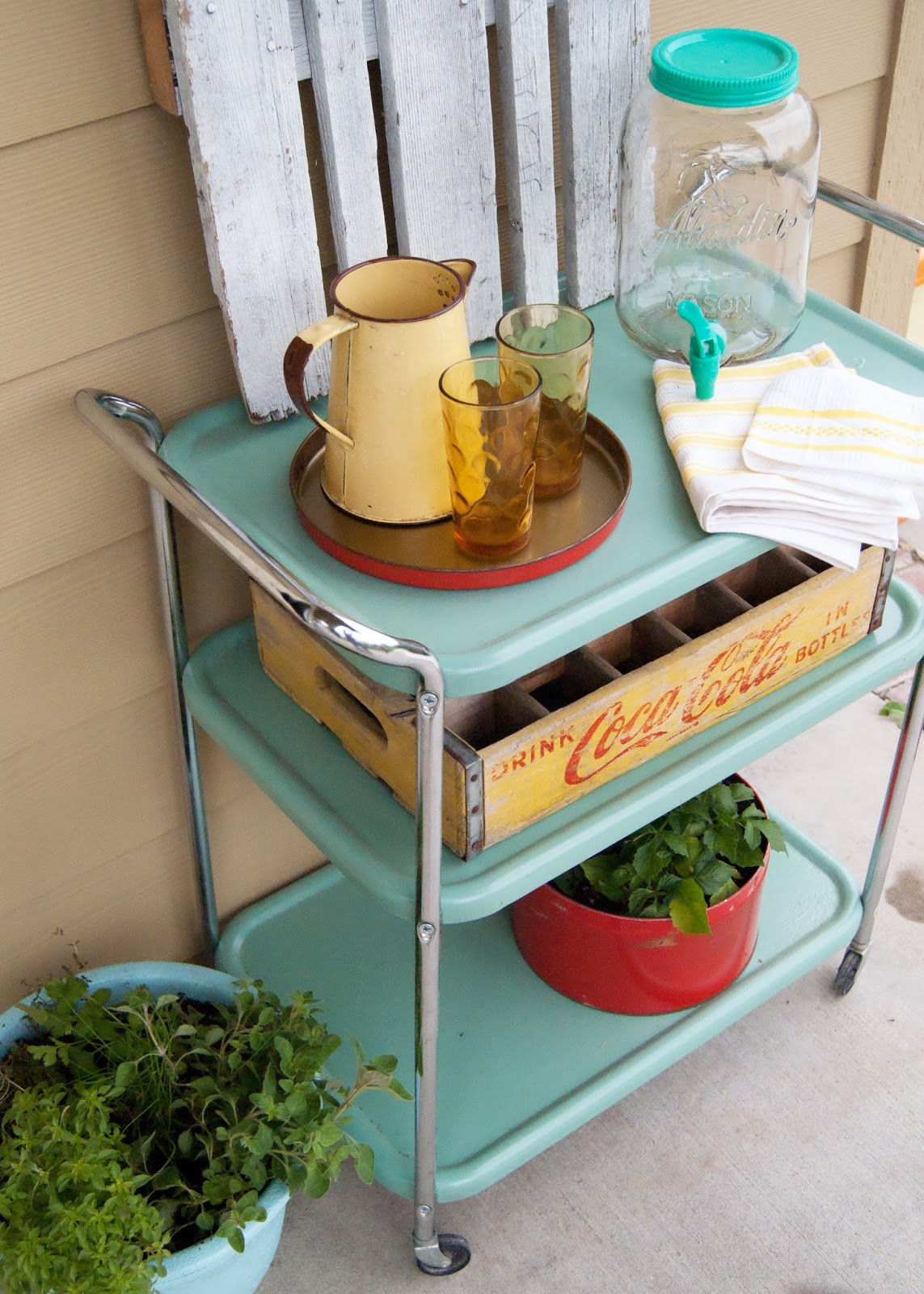 Vintage cart found on roadside, transformed into outdoor beverage cart. - Before and After