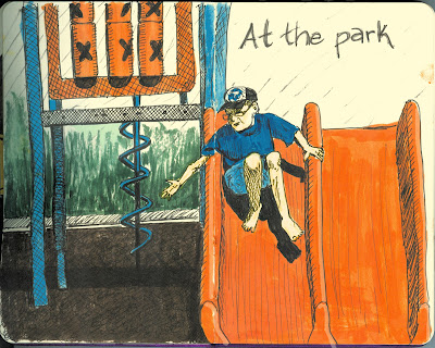 At the Park - Ink with Watercolour by Ana Tirolese ©2012