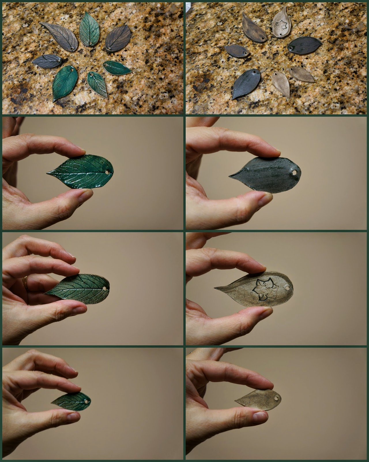 Unique handmade nature inspired ceramic stoneware leaves