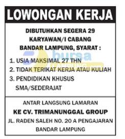 Karir Lampung CV Tri Manunggal Group