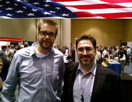 Sam Bazzi of Arcs, right, with Dries Buytaert, the inventor of Drupal