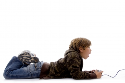 Boy playing computer games, video games