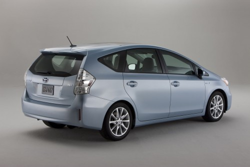 Rear 3/4 view of 2012 Toyota Prius V