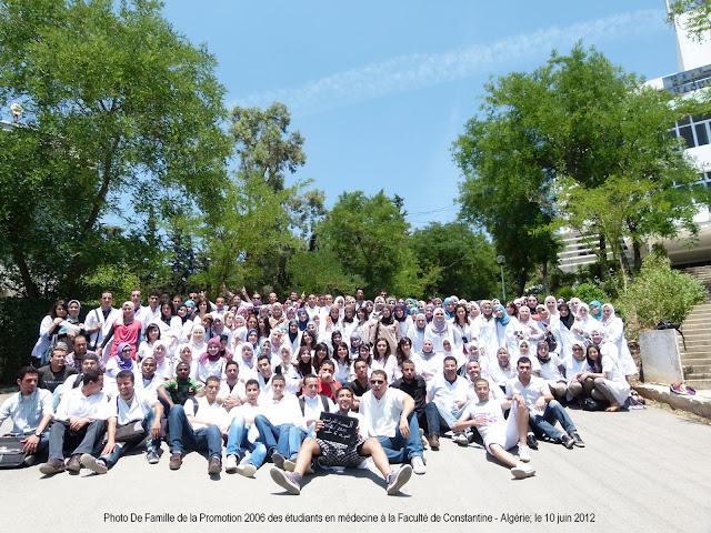Photo de Famille de la promotion 2006 des étudiants en médecine à Constantine - 2012 (regroupant environ 180 étudiants et étudiantes)